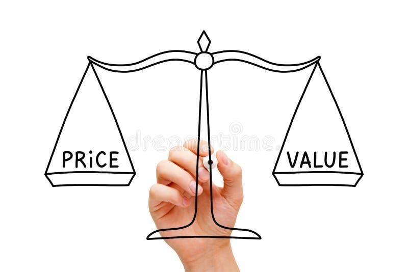 价格价值平衡标度概念 库存照片