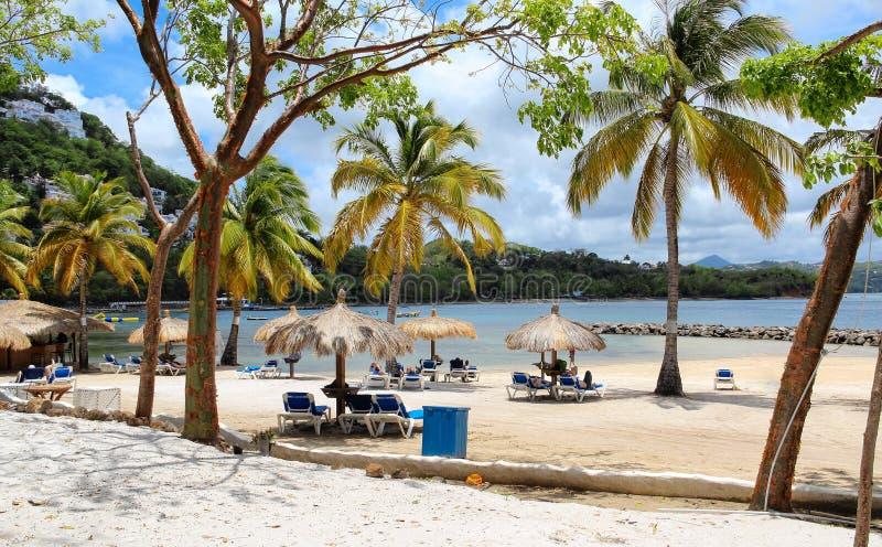 格洛斯小岛海滩,圣卢西亚 库存图片