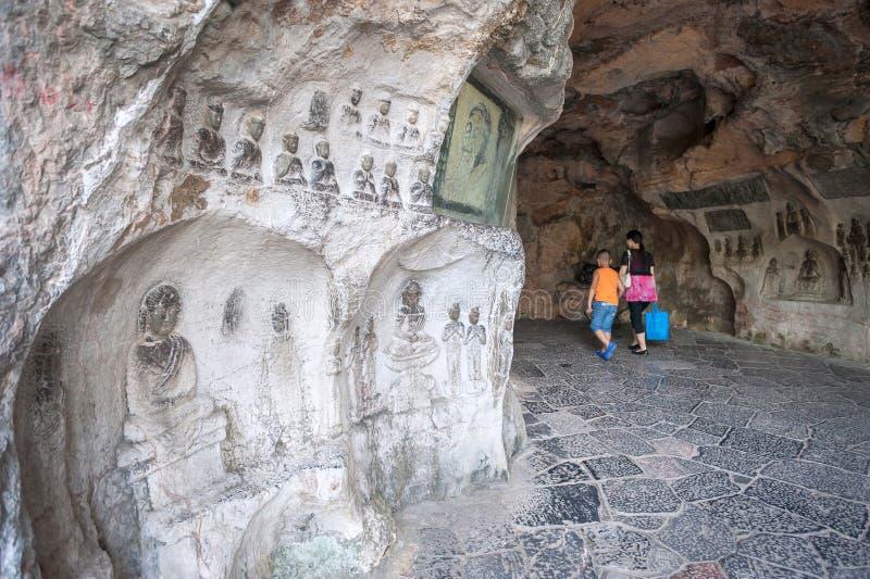 桂林叠彩山脚下风洞中的佛像 免版税库存照片