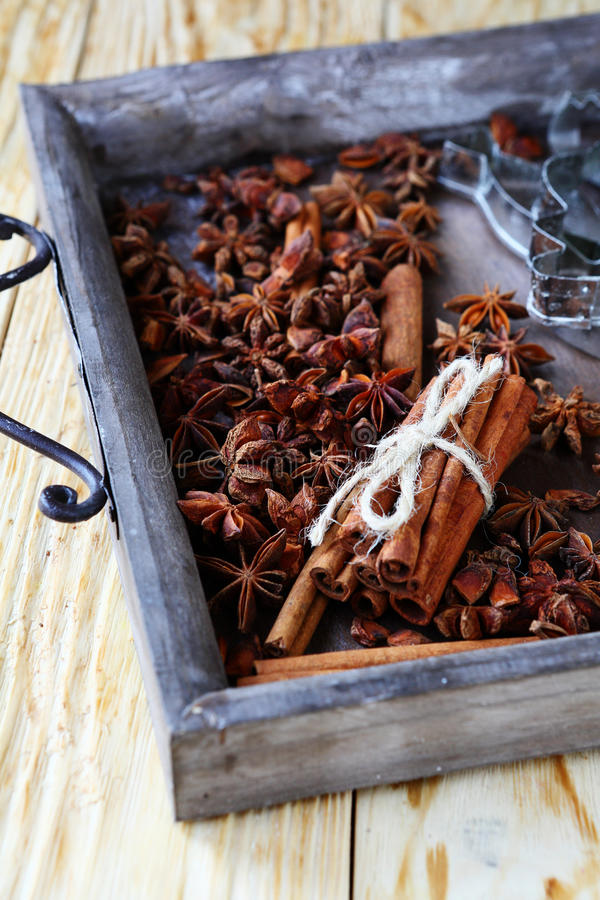 桂香和茴香在木盘子 库存图片