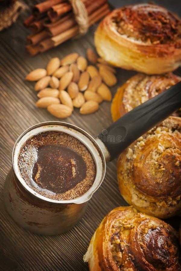 桂香咖啡面包卷 库存图片