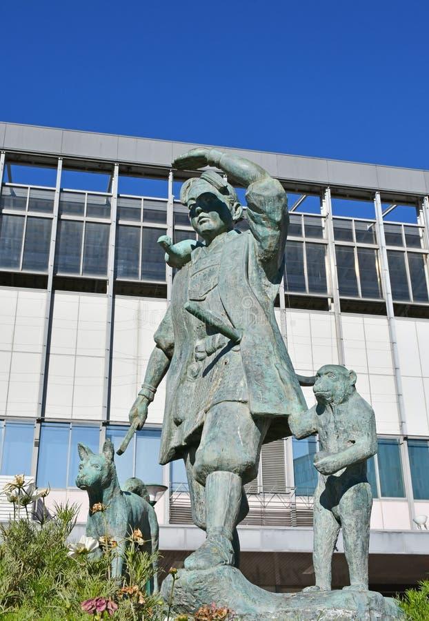 桃太郎雕象在冈山驻地,日本之外的 免版税库存照片