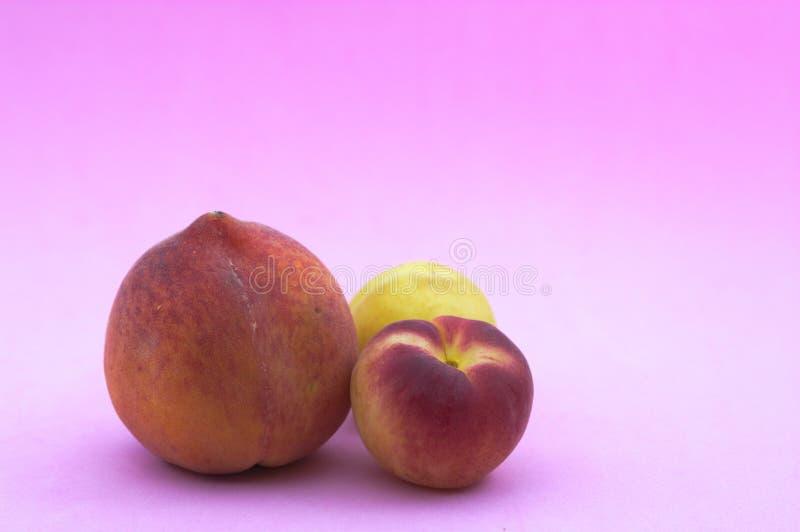 桃子和杏子在桃红色 免版税图库摄影