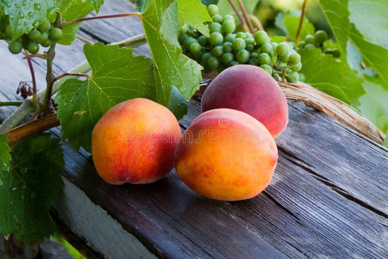 桃子和葡萄 库存照片