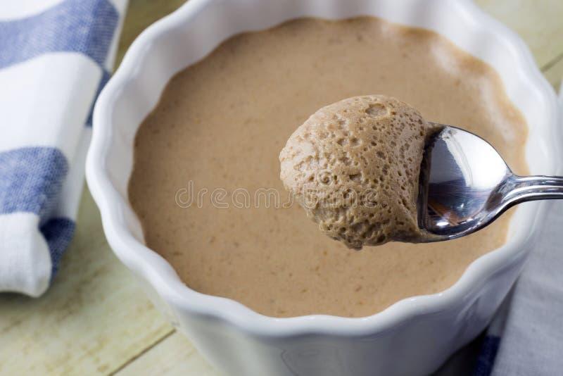 桃子奶油甜点 免版税库存图片