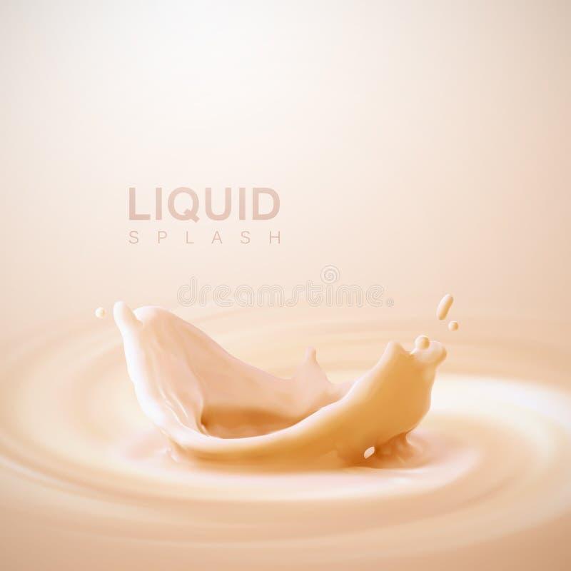 桃子或杏子味道酸奶冠飞溅 皇族释放例证