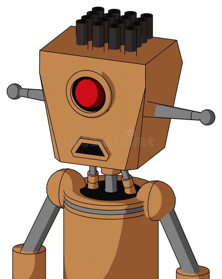 桃子机械与箱子头和哀伤的嘴和独眼巨人注视并且用管道输送头发 库存例证