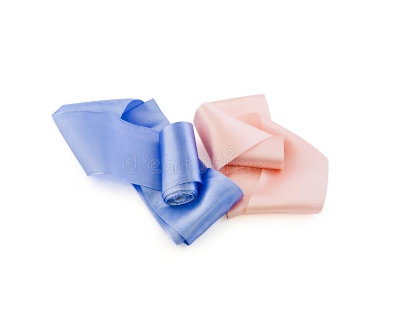 桃子桃红色和蓝色颜色缎丝带两卷  库存图片