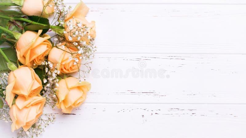 从桃子颜色玫瑰的边界在白色木背景开花 免版税图库摄影