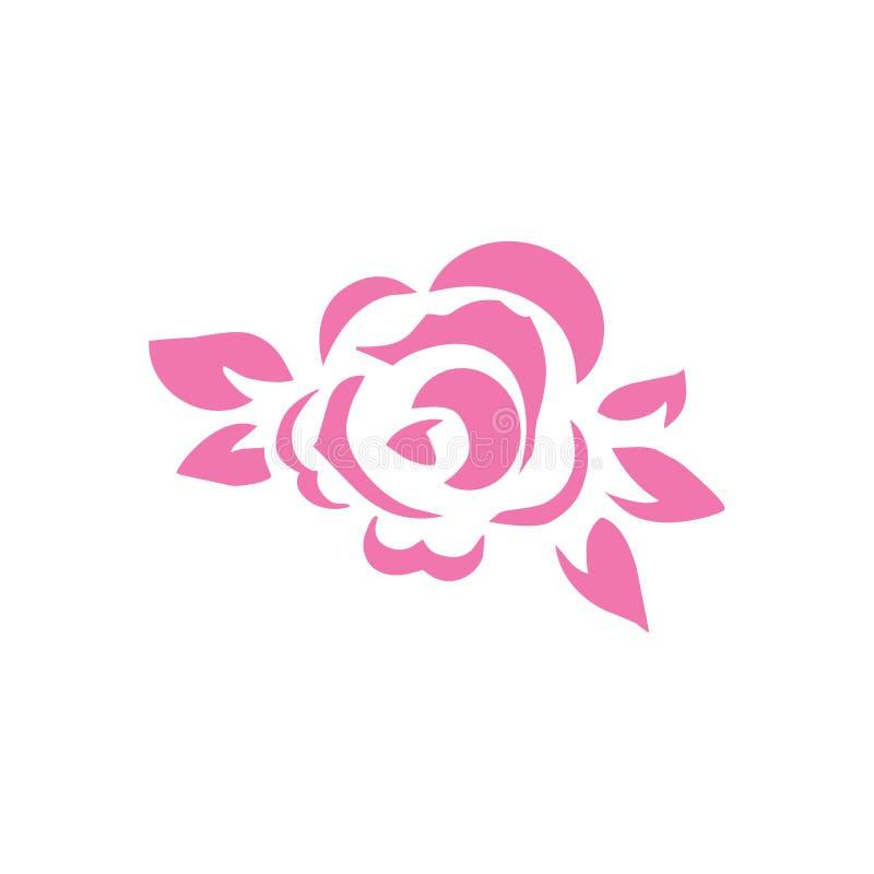 桃红色上升了花图表纹身花刺形状裁减 皇族释放例证
