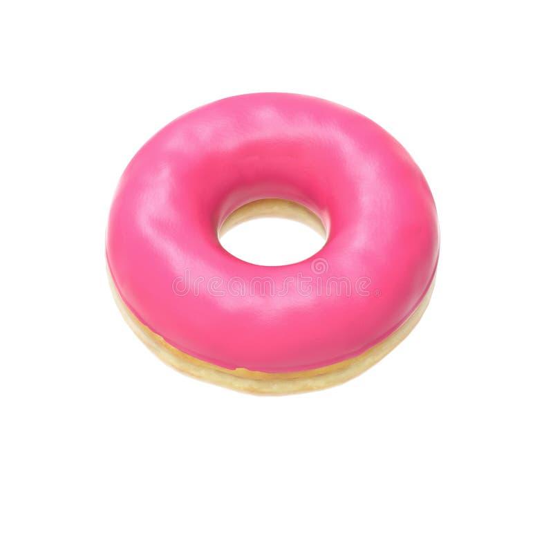 给桃红色上釉的多福饼 免版税图库摄影