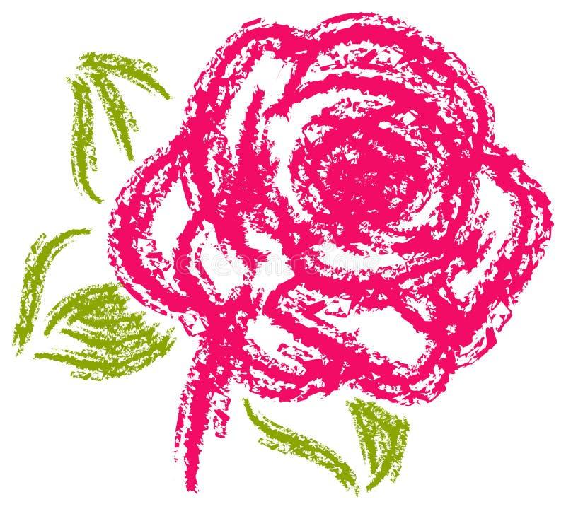 桃红色与木炭刷子的玫瑰绘画 皇族释放例证