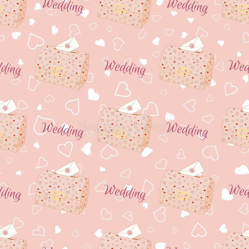 桃红色与胸口的婚礼无缝的样式 库存例证