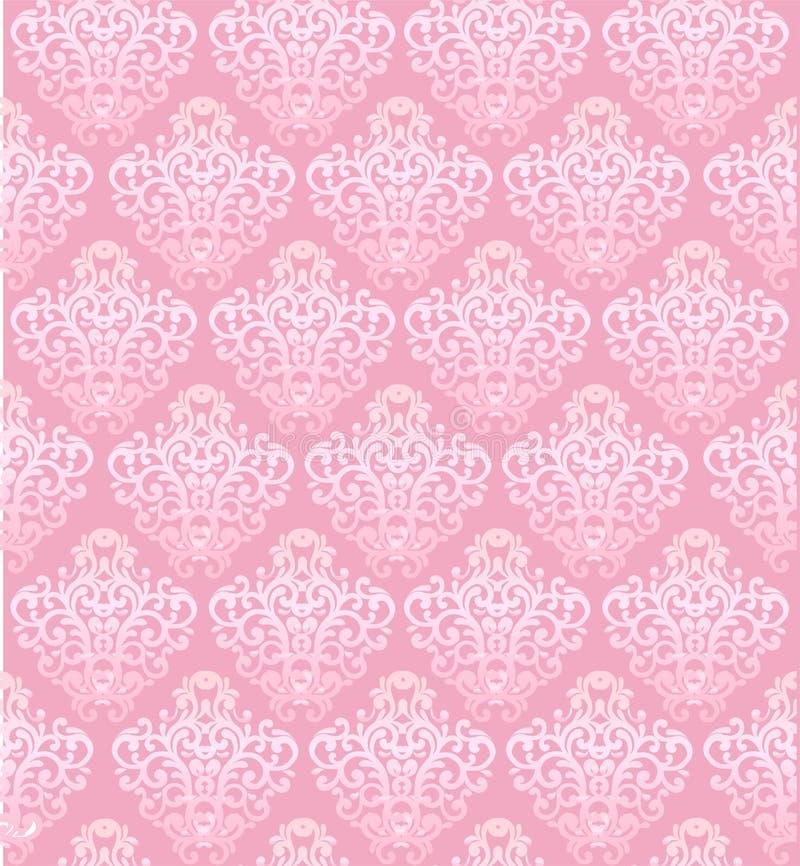 桃红色与巴洛克式的元素的传染媒介无缝的样式 库存例证