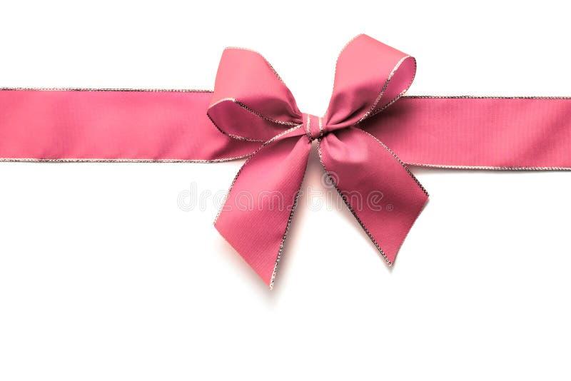 桃红色丝带和弓 库存图片