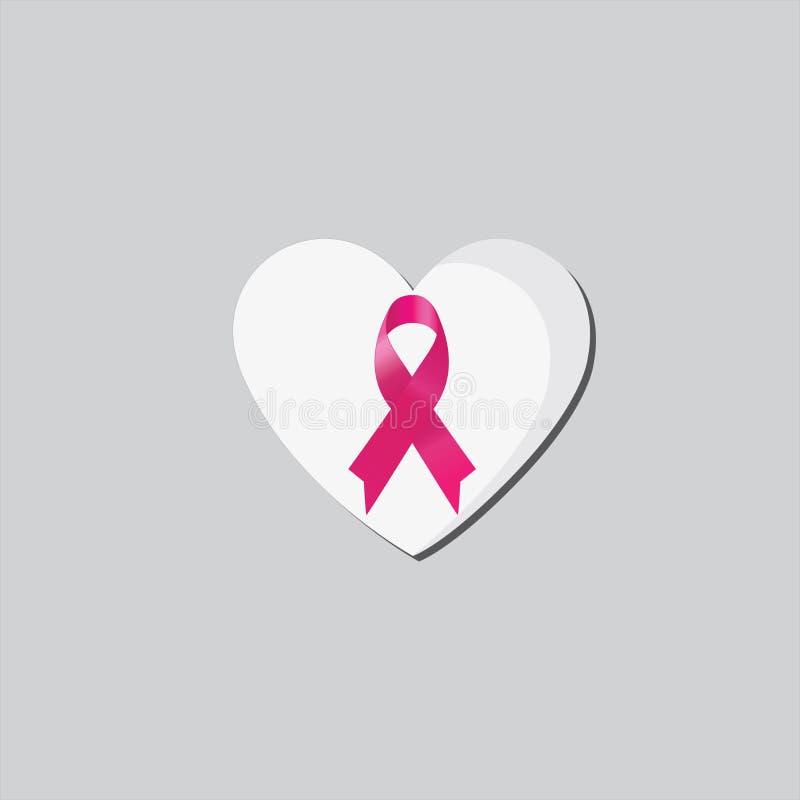 桃红色丝带,乳腺癌了悟在心脏 皇族释放例证