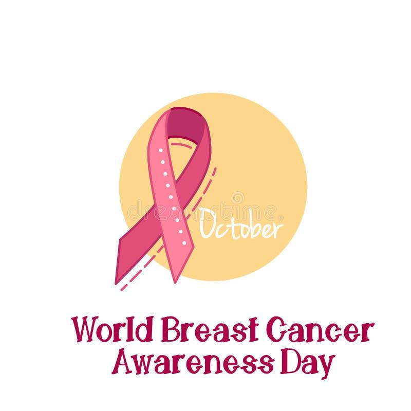 桃红色丝带,乳腺癌了悟标志,传染媒介例证 向量例证