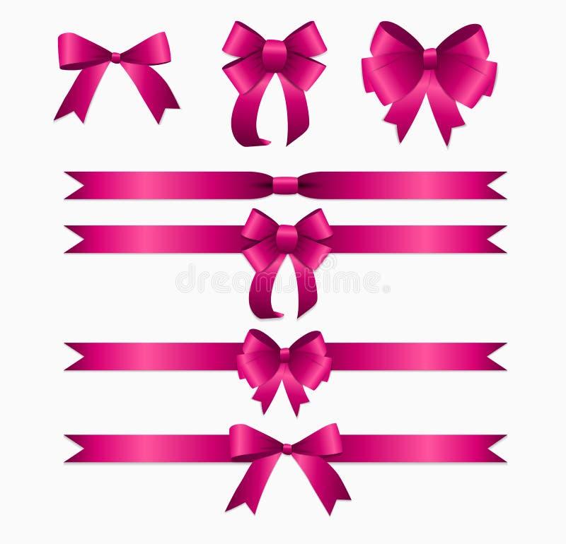 桃红色为生日圣诞节礼物盒设置的丝带和弓 rea 库存例证