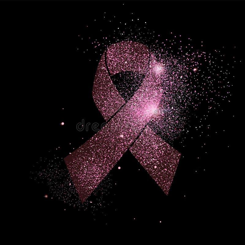 桃红色乳腺癌丝带闪烁概念标志 皇族释放例证