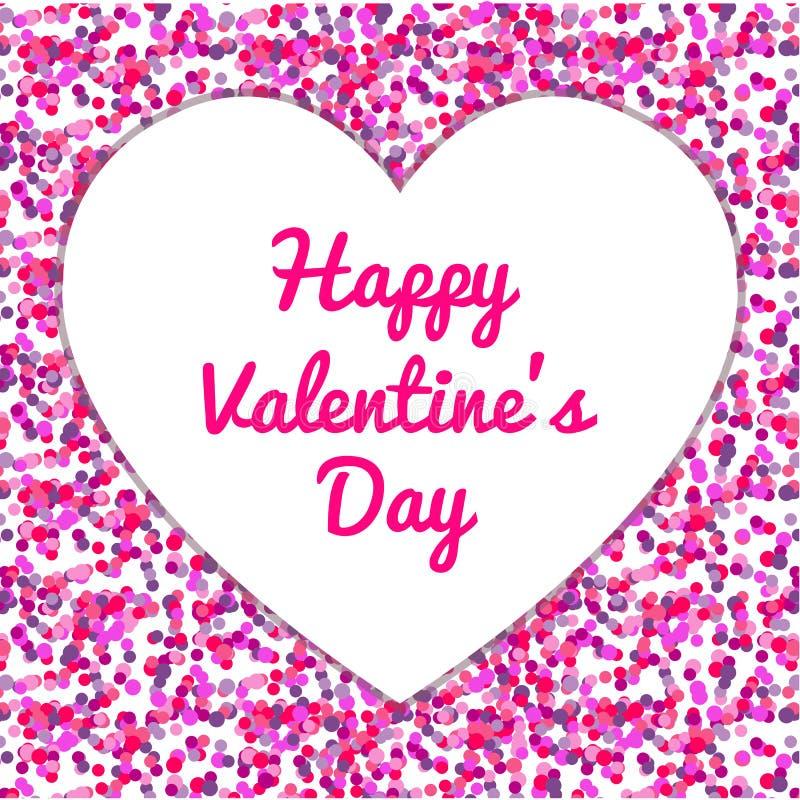 桃红色五彩纸屑,情人节快乐传染媒介 免版税库存照片