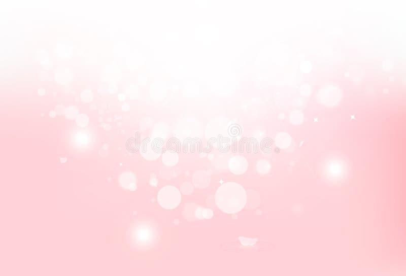 桃红色佐仓瓣落的豪华背景,弄脏明亮与星发光的闪烁闪闪发光Bokeh概念摘要传染媒介 皇族释放例证