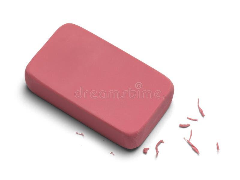 桃红色使用的橡皮擦 库存照片