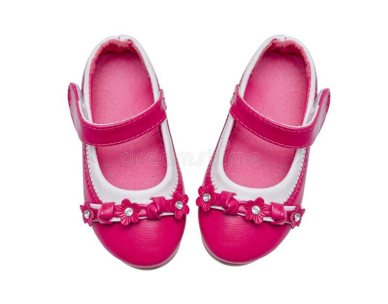 桃红色儿童鞋子 库存图片