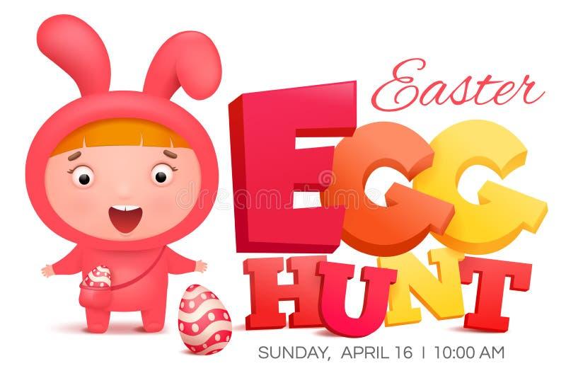 桃红色兔宝宝服装的女孩发现鸡蛋的 篮子看板卡五颜六色的复活节彩蛋草甸春天模板柳条 皇族释放例证