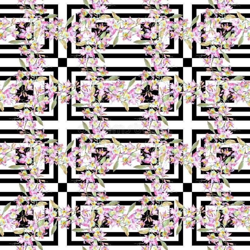 桃红色兰花花束  花卉植物的花 水彩背景例证集合 无缝的背景模式 免版税库存图片