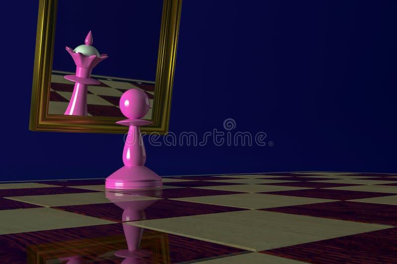 桃红色典当在镜子看并且看见反射的女王/王后 概念:夸大狂,愚蠢,梦想,转动典当 库存照片