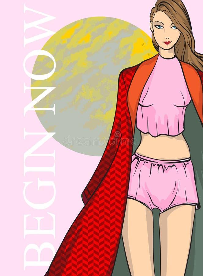 桃红色内衣和一个红色斗篷的美丽的年轻女人 手拉的时尚女孩 E ?? 皇族释放例证