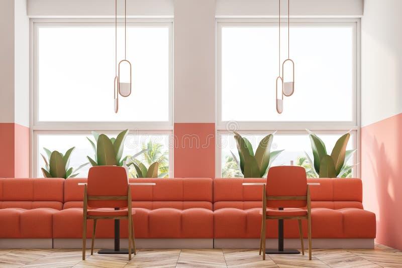 桃红色减速火箭的咖啡馆内部、顶楼和植物关闭  向量例证