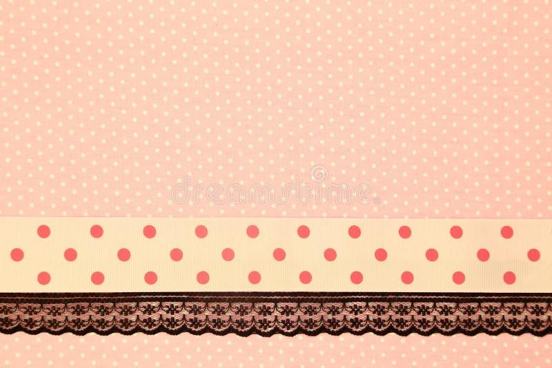 桃红色减速火箭的圆点纺织品 图库摄影