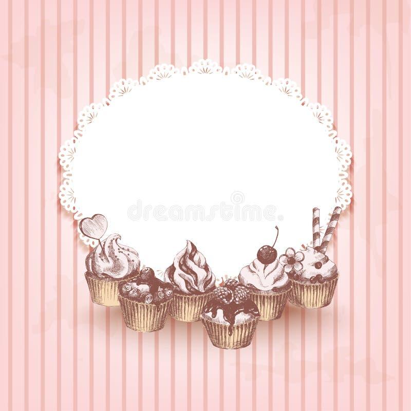桃红色减速火箭的背景用手拉的杯形蛋糕 库存例证