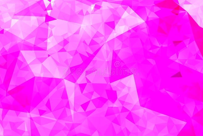 桃红色几何弄皱的三角低多origami样式 皇族释放例证