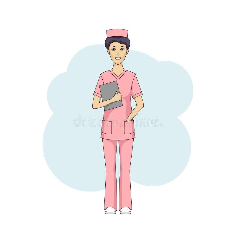 桃红色制服的亚裔女性护士 皇族释放例证