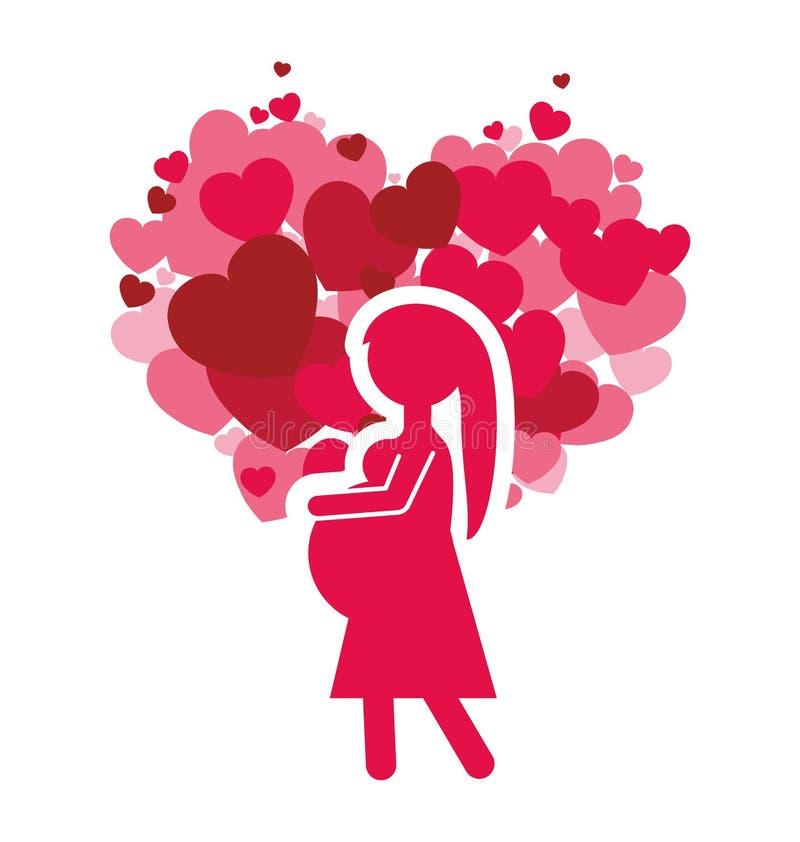 桃红色剪影妈妈怀孕和心脏庆祝 库存例证