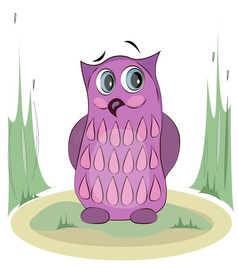 桃红色动画片猫头鹰坐地面 滑稽的传染媒介字符 向量例证