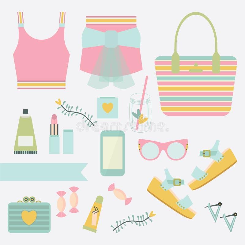 桃红色和小野鸭夫人夏天时装和辅助部件集合 向量例证