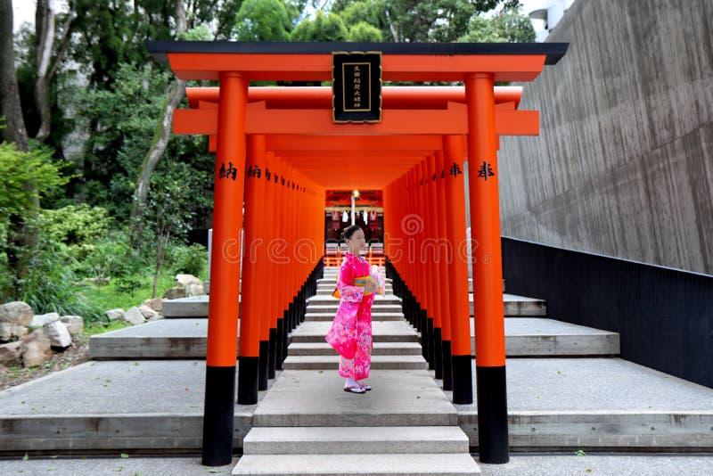 桃红色和服青少年的女孩举行纸爱好者和立场在生田原寺庙,神户torii线  图库摄影