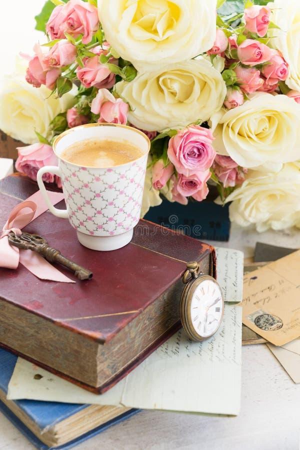 桃红色和白色开花的玫瑰 库存图片