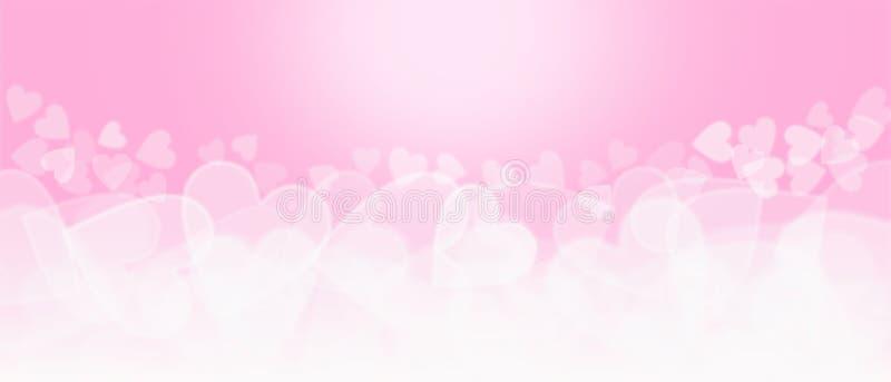 桃红色和白色心形的Bokeh背景 免版税库存图片