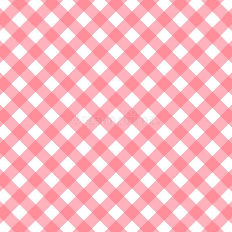 桃红色和白色方格花布背景 也corel凹道例证向量 向量例证