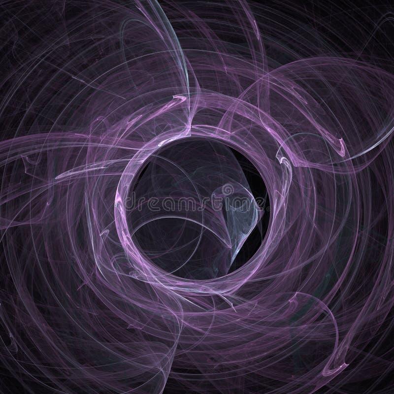 桃红色和白色混合烟螺旋云彩曲线未来派分数维数字艺术 向量例证