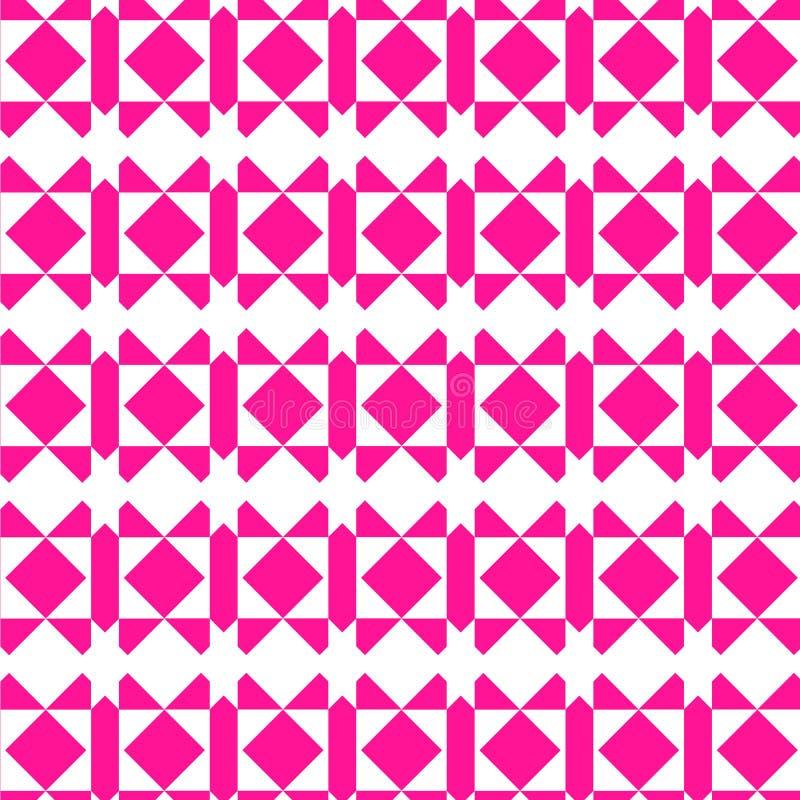 桃红色和白色现代几何重复的样式 库存例证
