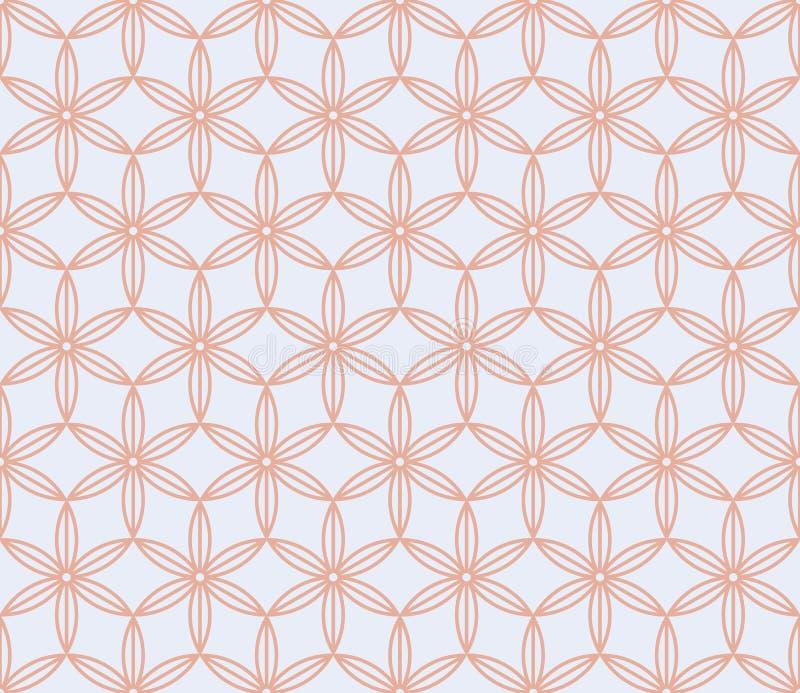 桃红色和白色花卉日本背景 佐仓开花传染媒介无缝的样式,传统亚洲设计 皇族释放例证