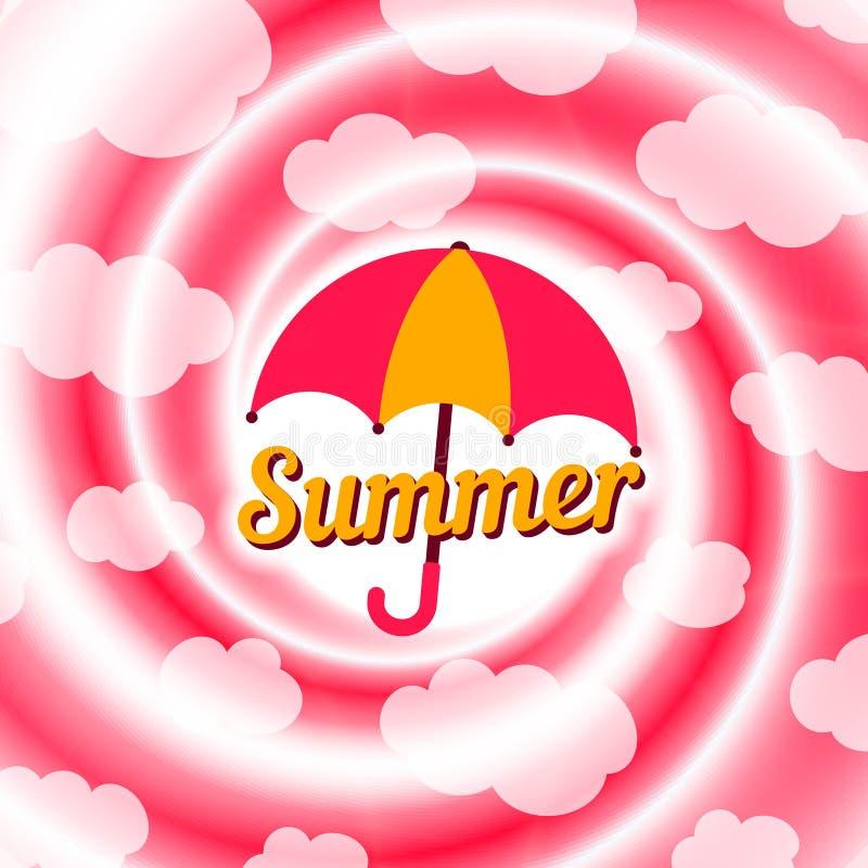 桃红色和白色螺旋漩涡 夏天多云天空背景 皇族释放例证