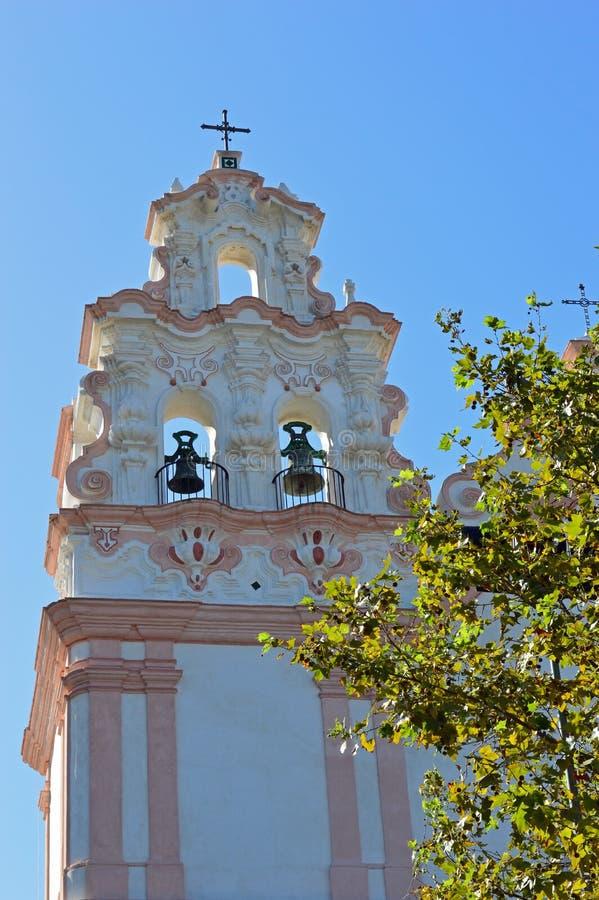 桃红色和白色镶褶边的钟楼卡迪士 库存图片