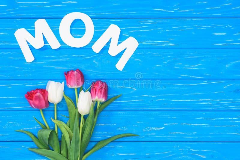 桃红色和白郁金香和词妈妈花束顶视图在蓝色桌,母亲节概念上 库存图片