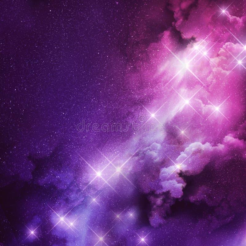 桃红色和紫色星云 向量例证